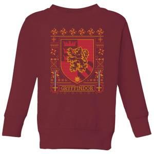 Harry Potter Gryffindor Crest Kids' Christmas Sweatshirt - Burgundy