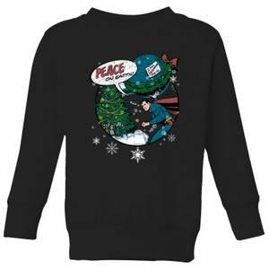 DC Superman Peace On Earth Kids' Christmas Sweatshirt - Black