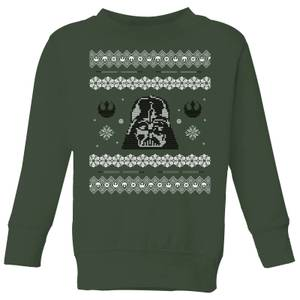 Star Wars Darth Vader Knit Kids' Christmas Sweater - Forest Green