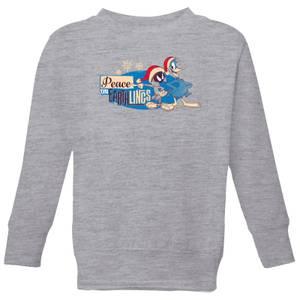 Looney Tunes Peace Among Earthlings Kids' Christmas Sweatshirt - Grey