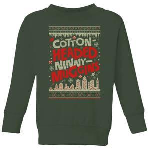Elf Cotton-Headed-Ninny-Muggins Knit Kids' Christmas Sweatshirt - Forest Green