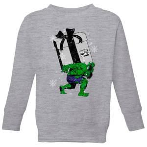 Marvel The Incredible Hulk Christmas Present Kids' Christmas Sweatshirt - Grey