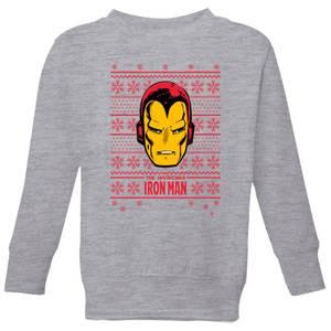 Marvel Iron Man Face Kids' Christmas Sweatshirt - Grey