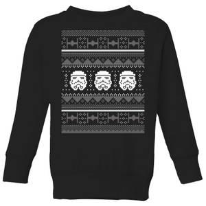 Star Wars Stormtrooper Knit Kids' Christmas Sweatshirt - Black