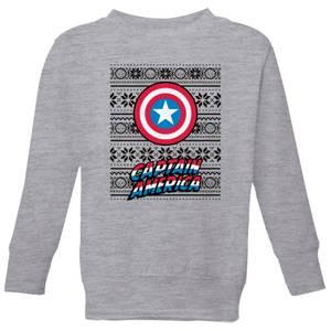 Marvel Captain America Kids' Christmas Sweatshirt - Grey