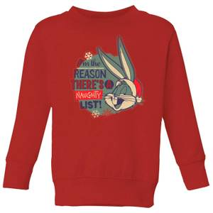 Looney Tunes I'm The Reason There Is A Naughty List Kids' Christmas Sweatshirt - Red