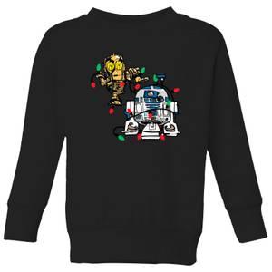 Star Wars Tangled Fairy Lights Droids Kids' Christmas Sweater - Black