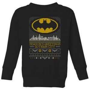 DC Seasons Greetings From Gotham Kids' Christmas Sweatshirt - Black