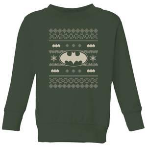 DC Batman Knit Pattern Kids' Christmas Sweatshirt - Forest Green