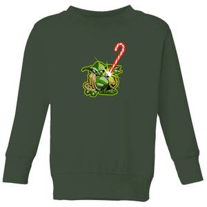 Star Wars Candy Cane Yoda Kids' Christmas Sweatshirt - Forest Green