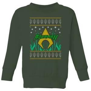 DC Aquaman Knit Kids' Christmas Sweatshirt - Forest Green