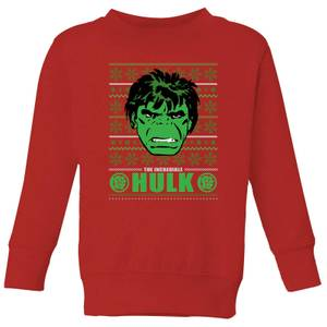 Marvel Hulk Face Kids' Christmas Sweater - Red