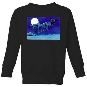 Star Wars AT-AT Darth Vader Sleigh Kids' Christmas Sweatshirt - Black