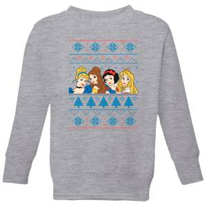 Disney Princess Faces Kids' Christmas Sweatshirt - Grey