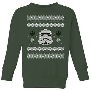 Star Wars Stormtrooper Knit Kids' Christmas Sweatshirt - Forest Green