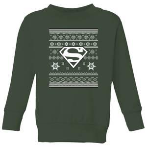 DC Superman Kids' Christmas Sweatshirt - Forest Green