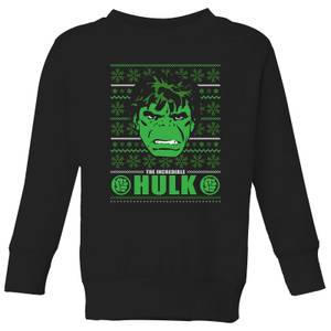 Marvel Hulk Face Kids' Christmas Sweater - Black