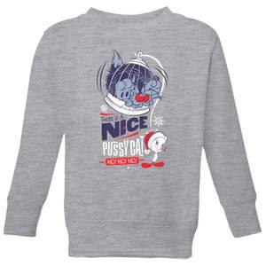 Looney Tunes Tweety Pie Pussy Cat Kids' Christmas Sweatshirt - Grey