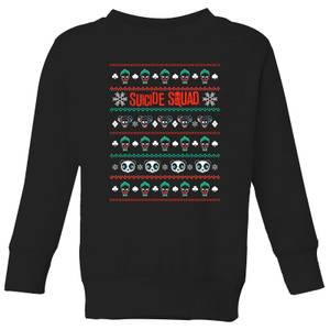 DC Suicide Squad Knit Pattern Kids' Christmas Sweatshirt - Black