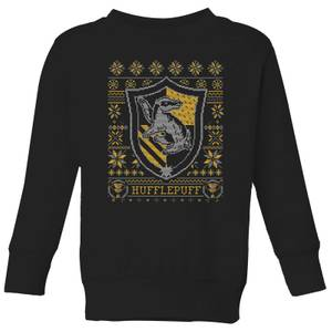 Harry Potter Hufflepuff Crest Kids' Christmas Sweatshirt - Black