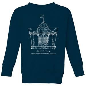 Mary Poppins Carousel Sketch Kids' Christmas Sweatshirt - Navy