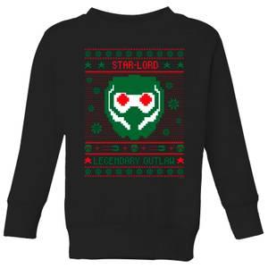 Guardians Of The Galaxy Star-Lord Pattern Kids' Christmas Sweatshirt - Black