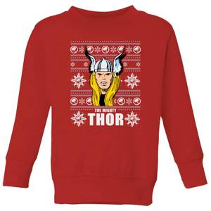 Marvel Thor Face Kids' Christmas Sweater - Red