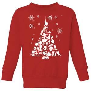 Star Wars Character Christmas Tree Kids' Christmas Sweatshirt - Red