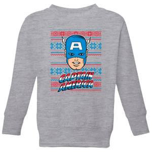 Marvel Captain America Face Kids' Christmas Sweatshirt - Grey