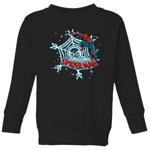 Marvel The Amazing Spider-Man Snowflake Web Kids' Christmas Sweatshirt - Black