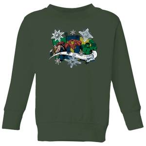 Marvel Thor Iron Man Hulk Snowflake Kids' Christmas Sweatshirt - Forest Green