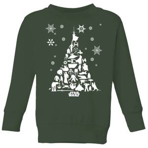 Star Wars Character Christmas Tree Kids' Christmas Sweatshirt - Forest Green