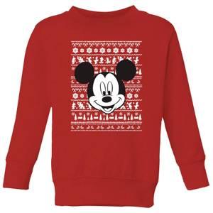 Disney Mickey Face Kids' Christmas Sweatshirt - Red