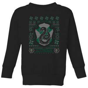 Harry Potter Slytherin Crest Kids' Christmas Sweatshirt - Black