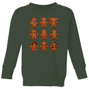 Star Wars Gingerbread Characters Kids' Christmas Sweatshirt - Forest Green