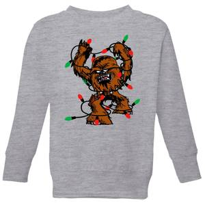 Star Wars Tangled Fairy Lights Chewbacca Kids' Christmas Sweatshirt - Grey