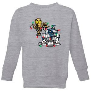 Star Wars Tangled Fairy Lights Droids Kids' Christmas Sweatshirt - Grey