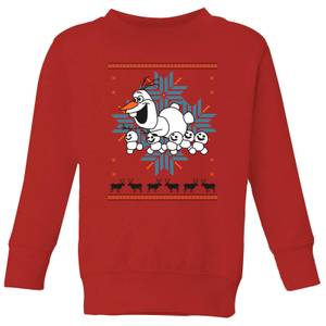 Disney Frozen Olaf and Snowmen Kids' Christmas Sweatshirt - Red