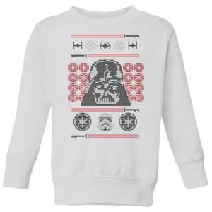 Star Wars Darth Vader Face Knit Kids' Christmas Sweatshirt - White
