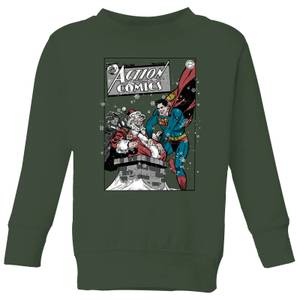 DC Superman Action Comics Kids' Christmas Sweatshirt - Forest Green