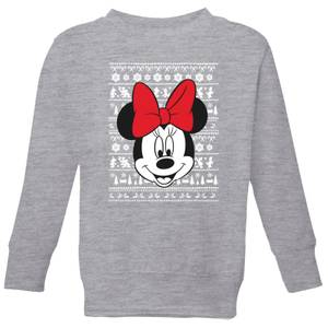 Disney Minnie Face Kids' Christmas Sweatshirt - Grey