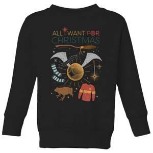 Harry Potter All I Want Kids' Christmas Sweatshirt - Black