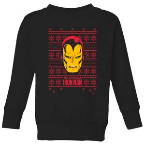 Marvel Iron Man Face Kids' Christmas Sweater - Black