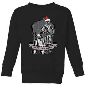 Star Wars Happy Holidays Droids Kids' Christmas Sweater - Black