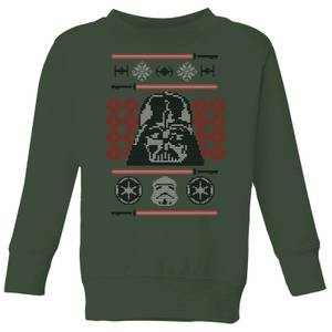 Star Wars Darth Vader Face Knit Kids' Christmas Sweatshirt - Forest Green