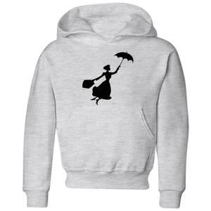 Mary Poppins Flying Silhouette Kinder Christmas Hoodie - Grau