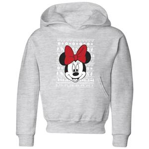 Disney Minnie Face Kids' Christmas Hoodie - Grey