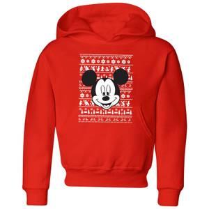 Disney Mickey Face Kids' Christmas Hoodie - Red