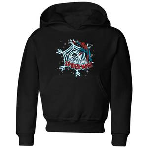 Marvel The Amazing Spider-Man Snowflake Web Kids' Christmas Hoodie - Black