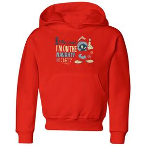 Looney Tunes Martian Who Said Im On The Naughty List Kids' Christmas Hoodie - Red